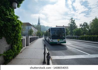 LJUBLJANA, SLOVENIA - MAY 23, 2019: bus public transport Ljubljana (LPP transport company) pictured on the capital city street