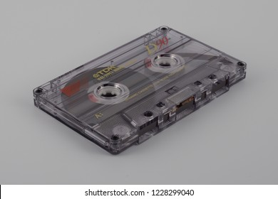 LJUBLJANA, SLOVENIA - NOVEMBER 10, 2018: New TDK D90 audio compact cassette made in 1995. Cassette tape is an obsolete analog magnetic tape recording format for audio recording.