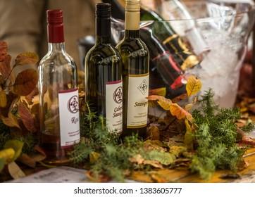 LJUBLJANA, SLOVENIA - NOVEMBER 10, 2018: Exhibited sorts of wine at Ljubljana Wine Trail event in the center of the city.