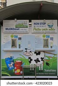 LJUBLJANA, SLOVENIA - NOVEMBER 17, 2015: milk vending machine on the street in Ljubljana, Slovenia