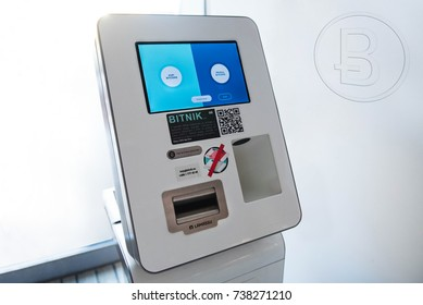 Ljubljana, Slovenia- OCT 18, 2017: Bitcoin automat or machine or bank. Buying and selling bitcoins, one of new era cryptocurrency.