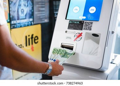 Ljubljana, Slovenia- OCT 18, 2017: Bitcoin machine or bank. Buying and selling bitcoins, one of new era cryptocurrency.