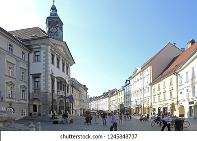 Ljubljana, Slovenia - October 12, 2014: People at Square in Front of Town Hall in Ljubljana, Slovenia.