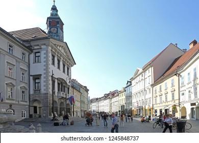 Ljubljana, Slovenia - October 12, 2014: People at Square in Front of Town Hall in Ljubljana, Slovenia.