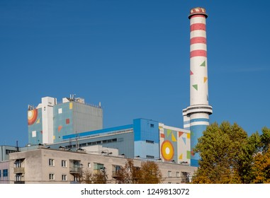 Ljubljana, Slovenia, October 18, 2017. Painted geometric forms pasted on smokestacks on the power plant in the city a project to integrate better in skyline