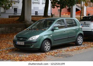 LJUBLJANA, SLOVENIA - OCTOBER 25, 2018: Hyundai Getz - a supermini compact car produced by the South Korean manufacturer Hyundai from 2002 to 2011.