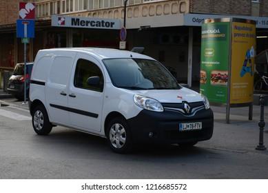 LJUBLJANA, SLOVENIA - OCTOBER 25, 2018: Renault Kangoo delivery van at work.