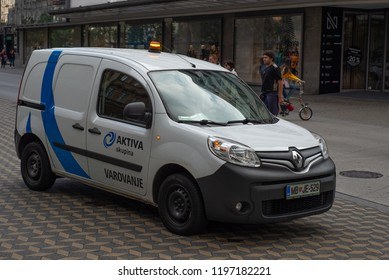 LJUBLJANA, SLOVENIA - OCTOBER 7, 2018: Renault Kangoo Express Safety Service car on the city street.