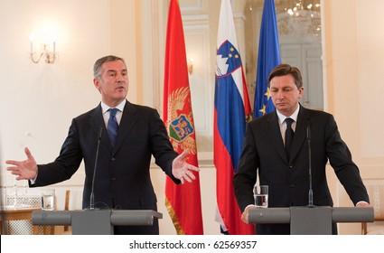 LJUBLJANA, SLOVENIA - OCTOBER 8: Slovenian Prime Minister Borut Pahor and Montenegro Prime Minister Milo Djukanovic met October 8, 2010 in Ljubljana, Slovenia.