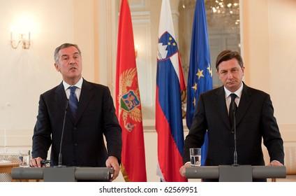 LJUBLJANA, SLOVENIA - OCTOBER 8: Slovenian Prime Minister Borut Pahor and Montenegro Prime Minister Milo Djukanovic meet October 8, 2010 in Ljubljana, Slovenia.