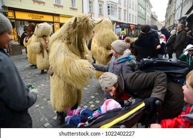 Ljubljana, Slovenia on FEBRUARY 10., 2017. Traditional dragon carnival, held in Ljubljana with many unique and typical slovenian carnival masks.