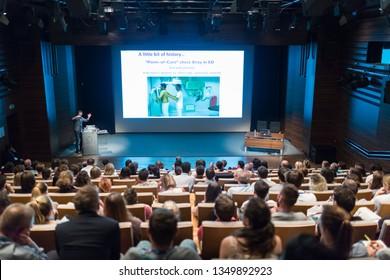 Ljubljana, Slovenia - Sept 8: Medical expert giving a talk on diagnostics in medicine on 12th Winfocus world congress on 8th of September, 2016 in Ljubljana, Slovenia.