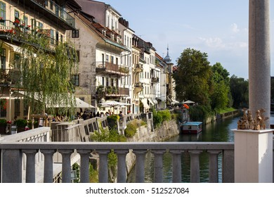 LJUBLJANA, SLOVENIA, SEPTEMBER 10, 2016:promenade with restaurants beside the river Ljubljanica