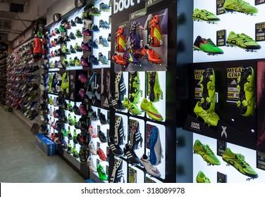 LJUBLJANA, SLOVENIA - SEPTEMBER 18, 2015: Photo shows a soccer shoes  display wall