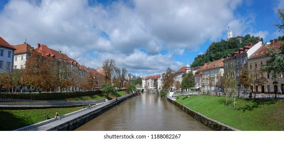 LJUBLJANA, SLOVENIA - SEPTEMBER 24, 2018: Panoramic view of river Ljubljanica in historic center of Ljubljana