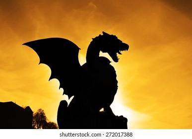 Ljubljana, Slovenia. A symbol of Ljubljana - dragon - at sunset. Taken on 2011/12/05
