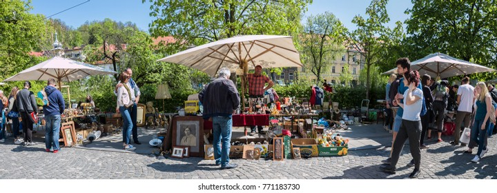 Ljubljana, Slovenija, Europe, 04.09.2017, Spring day at Ljubljana Flea market