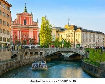 Ljubljanica river, Ljubljana - Slovenia.