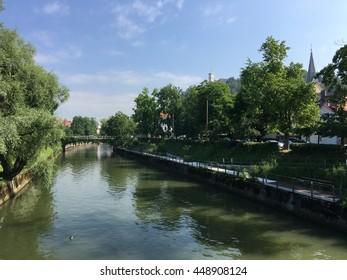 Ljubljanica river in the old town of Ljubljana Slovenia