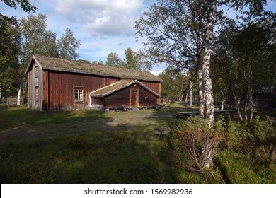 LJUNGDALEN, SWEDEN ON AUGUST 25. View of a homestead, folk museum on August 25, 2019 in Ljungdalen, Sweden. Timber building.