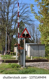 Ljutomer / Slovenia - 04 18 2019: Railroad Crossing Lights in Europa.