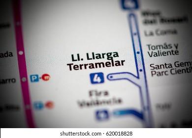 Ll. Llarga Terramelar Station. Valencia Metro map.