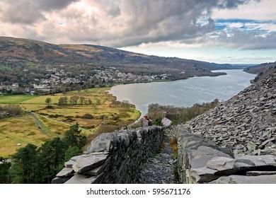 Llanberis, Gwynedd, north Wales. View of the village across the lake Llyn Padarn from Llanberis slate quarry.
