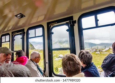 Llanberis, Wales, UK – July 01 2019. The inside of a railway carriage on the Mount Snowdon Railway on route to the summit of Snowdon