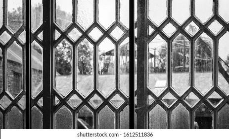 Llanberis/UK - 08 22 19 : Slate mine museum - Window frames, vintage ornate old style