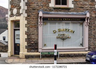 Llanbradach Caerphilly Wales UK 03/12/2011: Building used as set for Simpsons Funeral Directors Pontyberry in Welsh TV sitcom Stella by Ruth Jones, located in Ffrwd Terrace Llanbradach aired on Sky 1