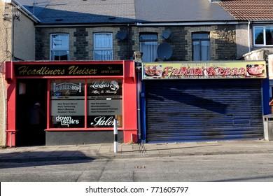 Llanbradach Wales UK 12/01/2017 Barber and Kebab shop
