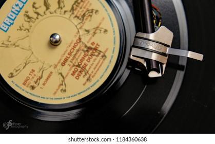 Llanbradach wales uk //30/2016: vinyl 45rpm record Motorhead playing on Thorens turntable