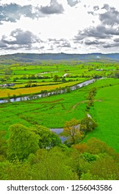 Llandeilo, Carmarthenshire / Wales UK - 5/10/2018: Beautiful views of the Welsh countryside with the river Towy meandering through its floodplain of rich farmland near Llandeilo in West Wales.