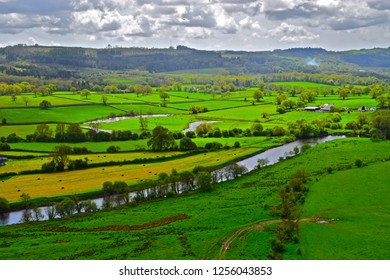 Llandeilo, Carmarthenshire / Wales UK - 5/10/2018: Beautiful views of the Welsh countryside with the river Towy meandering through rich farmland near Llandeilo in West Wales.