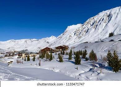 Llandscape and ski resort in French Alps,Tignes, Le Clavet, Tarentaise, France