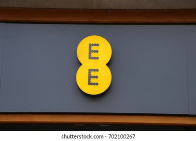 Llandudno, Conwy, Wales, UK.  19 August 2017. EE mobile phone sign.
