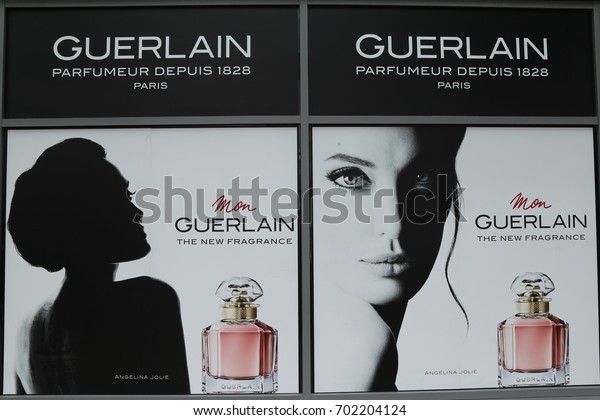 Llandudno, Conwy, Wales, UK.  19 August 2017. Guerlain advertising poster for perfume.