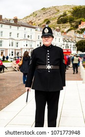 Llandudno, North Wales- 29th April 2017: Portrait of a man posing in a Victorian Police sergeants uniform as part of the Llandudno Victorian extravaganza holiday weekend.