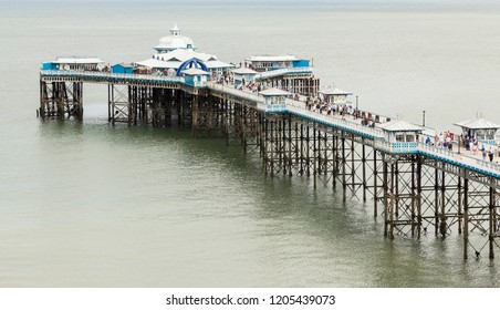 LLANDUDNO, NORTH WALES, UK - JULY12, 2015: An image of the longest pier in Wales, at 700 meters long Llandudno Pier was opened in 1887 during the Victorian era.