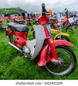 Llandudno, UK - May 5, 2019: The Llandudno Transport Festival 2019 saw a large turnout of vintage and retro motor bikes. Llantransfest is held alongside the annual Victorian Extravaganza.