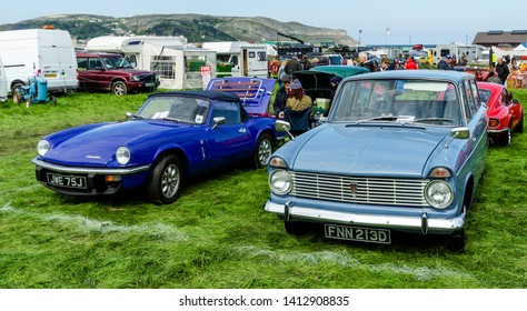 Llandudno, UK - May 5, 2019: The Llandudno Transport Festival 2019 saw a large turnout of classic motor cars. Llantransfest is held alongside the annual Victorian Extravaganza.