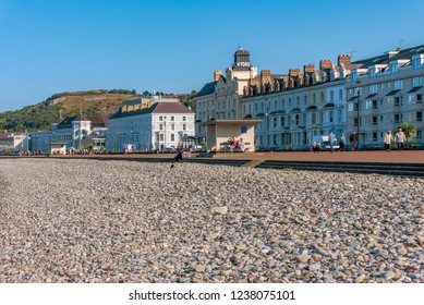 LLANDUDNO, UNITED KINGDOM - SEPTEMBER 05: View of the beach and waterfront area in Llandudno, a famous seaside town and popular travel destination in Wales on September 05, 2018 in Llandudno