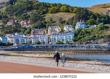 LLANDUDNO, UNITED KINGDOM - SEPTEMBER 05: Llandudno town waterfront area, a famous seaside town and popular travel destination in Wales on September 05, 2018 in Llandudno