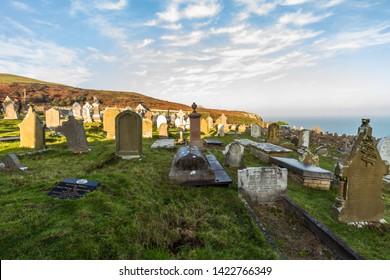 Llandudno, Wales – Graveyard at St. Tudnos Church on the Great Orme, Llandudno, on November  17 2018 in UK.