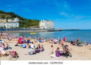 LLANDUDNO, WALES - JUNE 15, 2016: Beach in llandudno in Wales in a beautiful summer day, United Kingdom on June 15, 2016