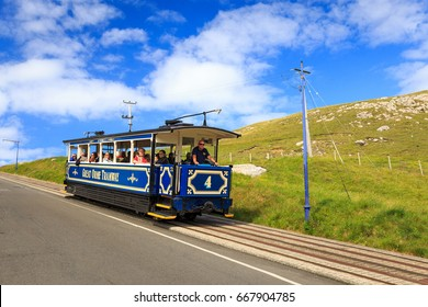 LLANDUDNO, WALES - JUNE, 2017: The Great Orme Tramway approaching the summit station. It is the only surviving cable operated street railway in Great Britain.