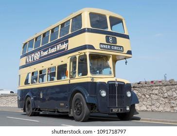 LLANDUDNO WALES, MAY 6 2018 Former Birmingham Corporation Transport 1953 Guy Arab IV double deck bus.