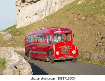 LLANDUDNO WALES, MAY 6 2018 1948 Foden coach on a vintage bus tour around The Great Orme