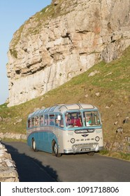 LLANDUDNO WALES, MAY 6 2018 1957 AEC Reliance coach on a vintage bus tour around The Great Orme