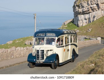 LLANDUDNO WALES, MAY 6 2018 1950 Bedford OB coach on a vintage bus tour around The Great Orme